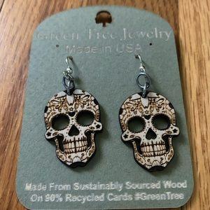 Brand new laser cut wooden sugar skull earrings ❤️